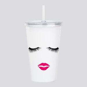 Lipstick and Eyelashes Acrylic Double-wall Tumbler