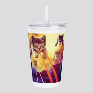 Laser Eyes Space Cats Acrylic Double-wall Tumbler