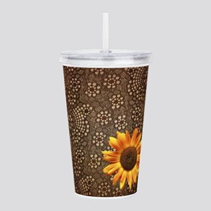 girly sunflower brown lace Acrylic Double-wall Tum