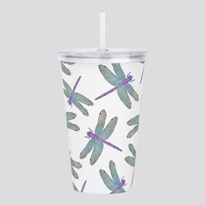 Watercolor Dragonfly Pattern Acrylic Double-wall T