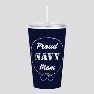 Proud Navy Mom Acrylic Double-wall Tumbler