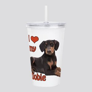 I heart my Doberman Acrylic Double-wall Tumbler