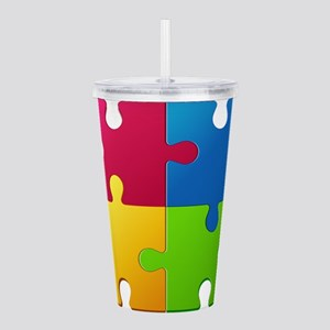 Autism Awareness Puzzl Acrylic Double-wall Tumbler