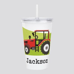 Personalized Red Tractor Acrylic Double-wall Tumbl