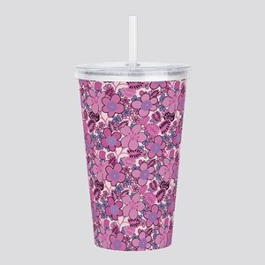 Retro Pink Floral Acrylic Double-wall Tumbler