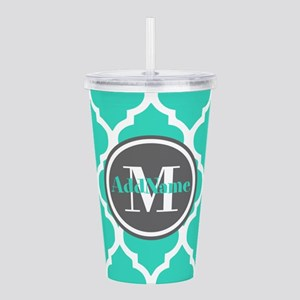 Teal Gray Quatrefoil P Acrylic Double-wall Tumbler