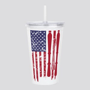 US flag with skis and Acrylic Double-wall Tumbler