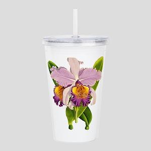 Purple Cattleyea Orchi Acrylic Double-wall Tumbler