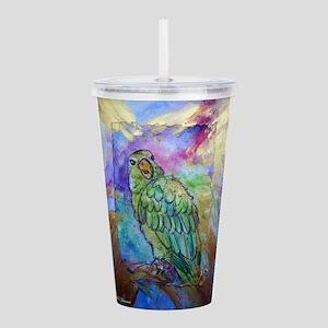 Amazon, Green parrot, art! Acrylic Double-wall Tum