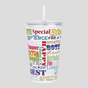 30th Birthday Typograp Acrylic Double-wall Tumbler