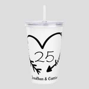 Custom Anniversary Doodle Heart Acrylic Double-wal