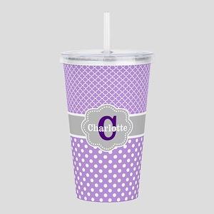 Purple Gray Dots Quatrefoil Personalized Acrylic D