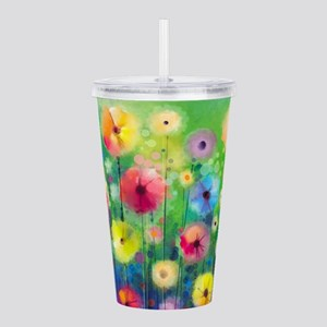 Watercolor Flowers Acrylic Double-wall Tumbler