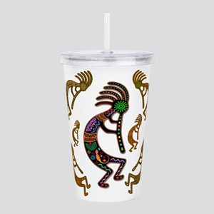 Kokopelli Rainbow Colors on Tribal Pattern Acrylic