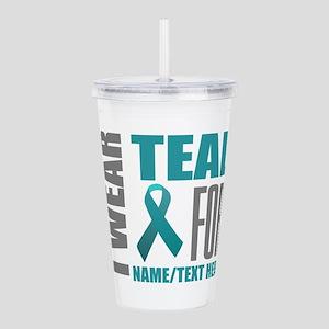 Teal Awareness Ribbon Acrylic Double-wall Tumbler