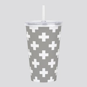 Grey Plus Sign Pattern Acrylic Double-wall Tumbler