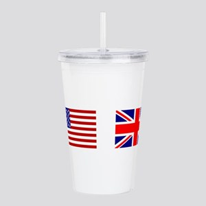 USA UK Flags for Whit Acrylic Double-wall Tumbler
