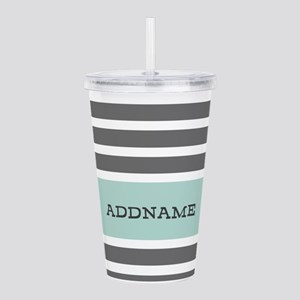 Gray and Mint Stripes Acrylic Double-wall Tumbler