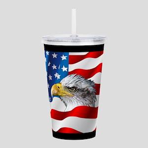 Bald Eagle On American Flag Acrylic Double-wall Tu