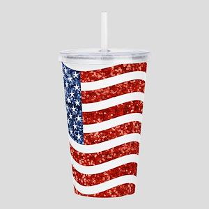 sequin american flag Acrylic Double-wall Tumbler