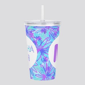 Alpha Phi Purple Flora Acrylic Double-wall Tumbler