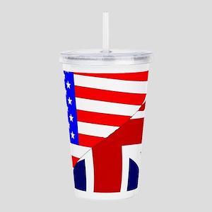 USA and UK Flags Acrylic Double-wall Tumbler