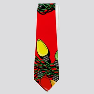 Holiday Lights on Red! Neck Tie