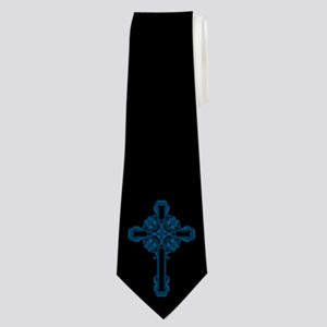 Turquoise Ornate Floral Cross Neck Tie