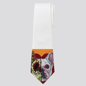 Sugar Skull White Frenchie Neck Tie