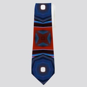 Red and Navy Retro Style Pattern Neck Tie