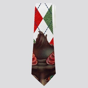 plaid monster krampus Neck Tie