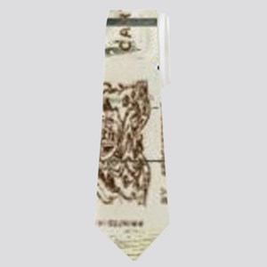 blue floral paris eiffel tower Neck Tie