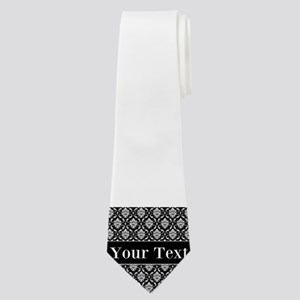 Personalizable Black White Damask Neck Tie