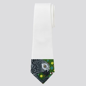 African Grey Parrot Christmas Art Neck Tie