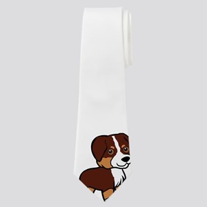 australian shepherd red tri cartoon Neck Tie