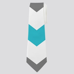 Teal and Gray Chevron Pattern Neck Tie