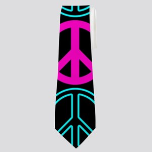 Peace Sign Multi Neon Colors Neck Tie