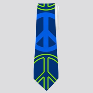 Peace Sign Multi Colors Blue Neck Tie