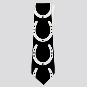 Black and White Horseshoe Pattern Neck Tie