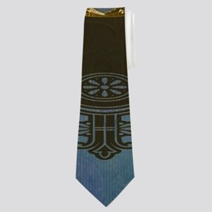 Awesome skull with crow in blue colors Neck Tie