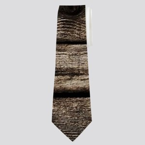 rustic primitive grey barn wood Neck Tie