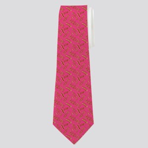 Bacon Word Pattern Pink Neck Tie