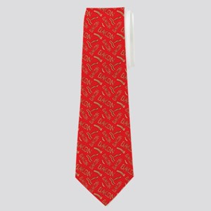 Bacon Word Pattern Red Neck Tie