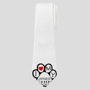 I Love My Japanese Chin Dog Neck Tie