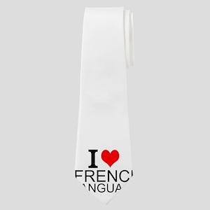 I Love French Language Neck Tie