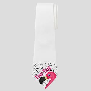 Pink Flamingo Black Neck Tie