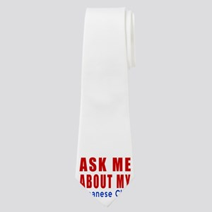 Ask Me About My Japanese Chin Dog Designs Neck Tie