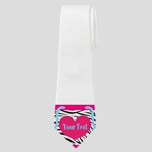 Personalizable Pink Zebra Neck Tie