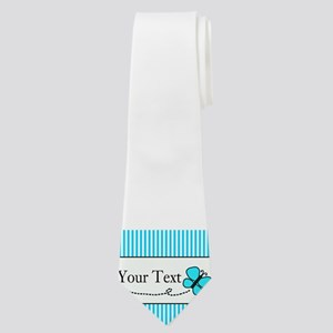 Personalizable Teal Butterfly Neck Tie
