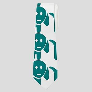 Teal and White Dachshund Wiener Dog Patte Neck Tie